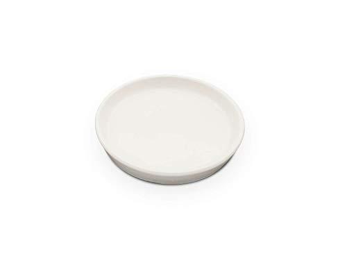 K&K Unterschale/Untersetzer rund für Blumentopf Venus II ohne und mit Henkel 22x18 cm - Ø 19 cm weiß-matt aus Steinzeug (hochwertige Keramik)