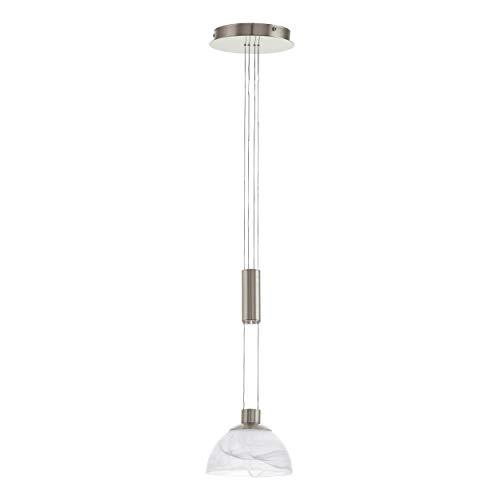 EGLO Lampa wisząca, szkło, zintegrowana, niklowo-matowa/biała, 18,5 x 18,5 x 110 cm