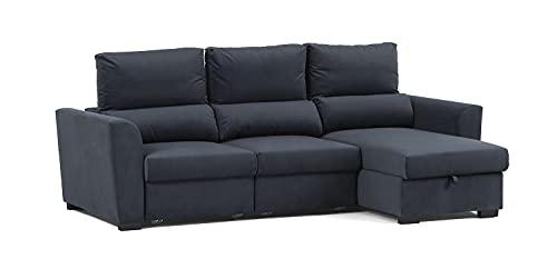 Confort24 Oliver Sofa Cama de Salon Chaise Longue 3 Plazas con Arcón Derecho o Izquierdo con Reposacabezas Ajustable (Cris Oscuro)