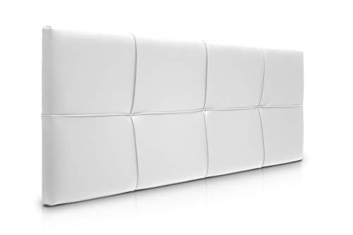 SUENOSZZZ-ESPECIALISTAS DEL DESCANSO Cabecero de Cama Square tapizado en Polipiel para Camas de 135 (145 x 57 cm) Polipiel Blanco