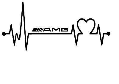 SUPERSTICKI Herzschlag Heartbeat AMG Mercedes Benz 25cm Aufkleber,Autoaufkleber,Sticker,Decal,Wandtattoo, aus Hochleistungsfolie,UV&waschanlagenfest,