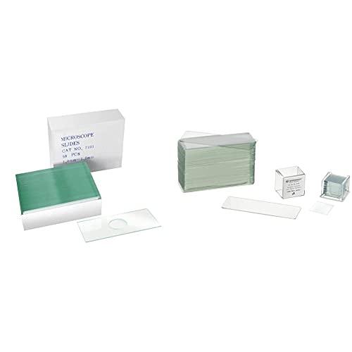 Bresser Mikroskop 50x Objektträger mit Vertiefung zur Untersuchung von Flüssigkeiten & Mikroskop Objektträger/Deckgläser (50x/100x) mit geschliffenen Kanten zur Erstellung von biologischen Präparaten