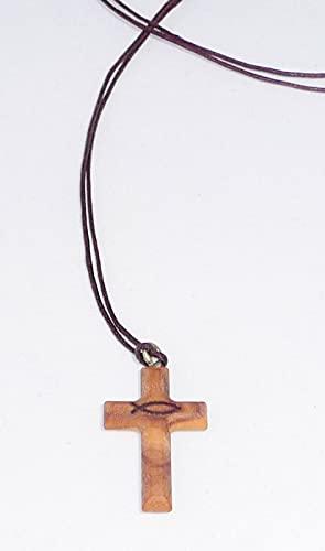 Olijfhouten kruis om om te hangen met vismotief ca. 3 x 2 cm