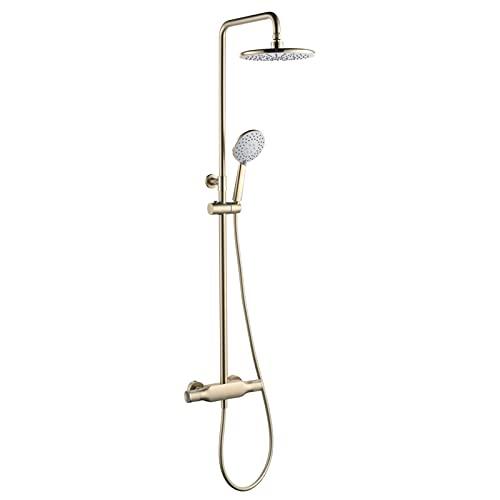 Juego de grifos de ducha en oro cepillado, cabezal de ducha tipo lluvia de ABS de 10 pulgadas con ducha de mano, sistema de ducha montado en la pared, juego de ducha con mezclador de lluvia