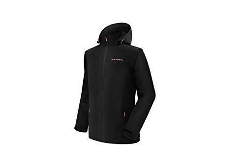 Acme Projects Herren Softshell Jacke mit Abnehmbarer Kapuze, wasserdicht, atmungsaktiv, 8000 mm / 5000 g, YKK-Reißverschluss (groß, schwarz)
