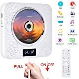 Portable DVD / CD Player with Bluetooth, Wall Mountable CD Music Player with Remote Control HDMI for TV Home CD Boombox with FM Radio Built-in HiFi Speakers (White)
