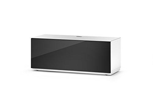 Sonorous STA 110F-WHT-BLK-BS stehende TV-Lowboard mit versteckten Rollen, weißer Korpus, obere Fläche, gehärtetem Weißglas und Klapptür mit gehärtetem Schwarzglas