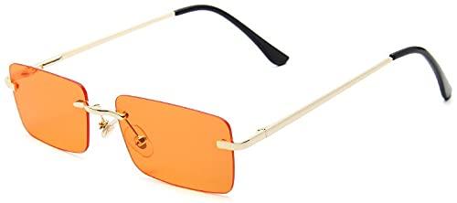 Dakecy Gafas de Sol para Mujer Gafas de Sol sin Montura de Moda Protección UV Gafas de conducción Gafas de Moda sin Montura de Color Caramelo (Color : D)