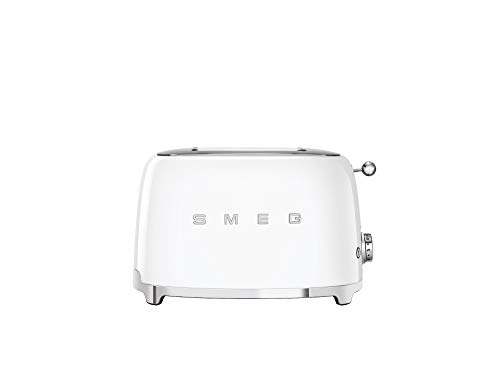 Smeg TSF01WHUK Retro 2 Slice Toaster, 6 Browning Levels, Extra-Wide Bread Slots, Defrost and Reheat Functions, Removable Crumb Tray, 950 W, White