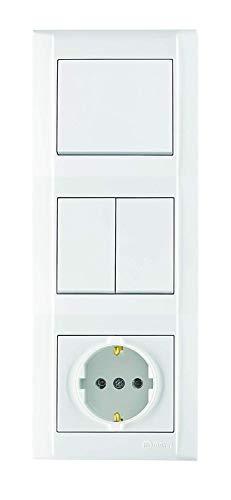 Defne | Kombi-Dose | Aus-/Wechselschalter & Serienschalter & Schuko Steckdose + Dreifachrahmen, VDE Zertifiziert, Unterputz mit Steckklemme, in weiß