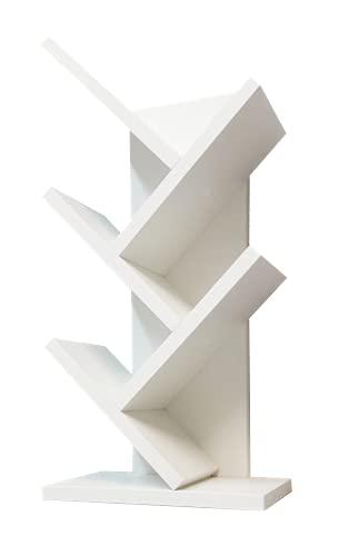 Scaffale in legno da tavolo, mod. Albero, Libreria, Biblioteca, Organizzatore da scrivania, Decorazione... 30 x 61 x 18 cm, Bianco