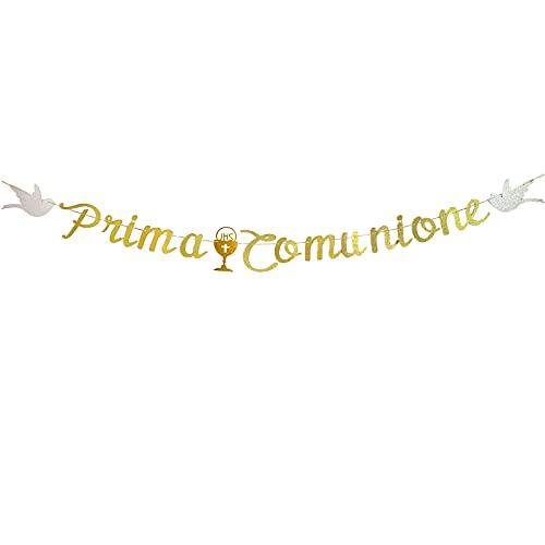 jenich Festone Prima Comunione Striscione Ghirlande Banner Bandiera Bandierine Comunione Carta Oro Addobbi Striscioni con Santo Graal per Comunione Cresima Battesimo