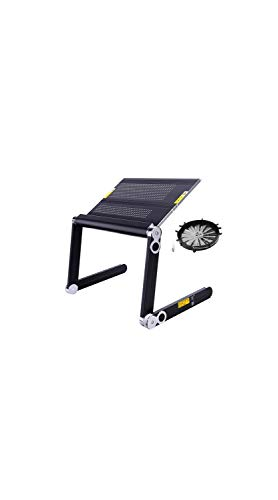 TYZP Soporte para computadora portátil ajustable con ventilador, mesa de ordenador portátil, plegable, mesa de cama, bandeja de vuelta, de pie o sentado (negro) (tamaño: grande)