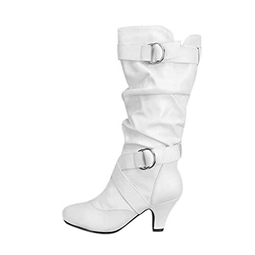 YWLINK Mujer CóModo TacóN Medio Botas Plisada Mujer Botas Largas De Gamuza Casual Tacones Aguja Altos Zapatos OtoñO Invierno Retro Botas Altas Calentar Moda Negra Botas Con Hebilla (Blanco, 37)