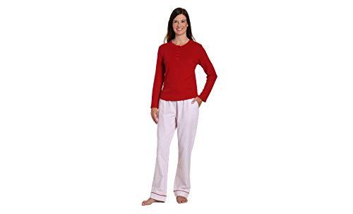 Womens Flannel Pajamas Sets - 2 Pc Lounge Set - Geo Mosaic White/Red - Medium