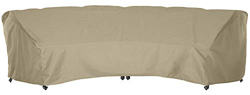 SunPatio Outdoor Curved Sectional Couch Cover, Heavy Duty Waterproof Patio Furniture Set Cover with Seam Tape, Fade Resistant Crescent Sofa Cover, 190'L(back)/128'L(front) x 36'W x 39'H, Neutral Taupe
