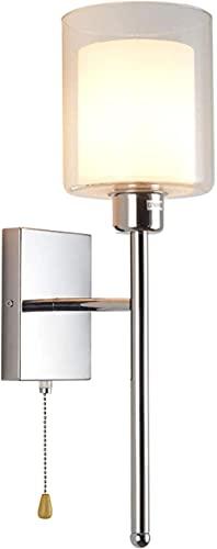 MWKL Lámpara de Pared de Noche con Aplique de Cristal de Acero Inoxidable E27 con Interruptor de tirón