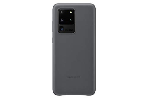 Samsung Leather Smartphone Cover EF-VG988 für Galaxy S20 Ultra Handy-Hülle, echtes Leder, Schutz Hülle, stoßfest, premium, grau