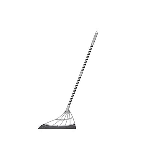 GSJDD Broom mágica Multifuncional, limpiaparabrisas de la Escoba de Silicona 2 en 1 en 1indoor, con escobilla de Goma y Mango, para Limpiar el Cabello Barrido de Agua Que raspa el trapeador-Gray
