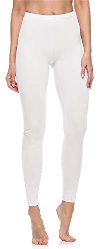 Merry Style Damen Lange Leggings aus Baumwolle MS10-198 (Weiß, XXL)