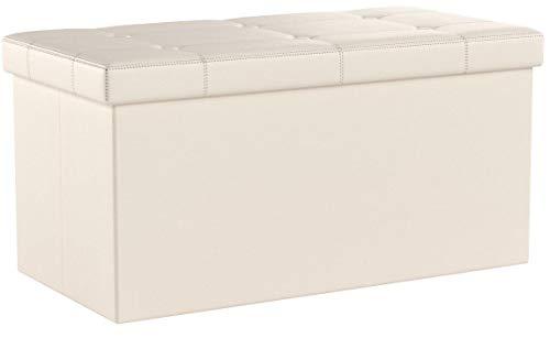 SONGMICS Sitzhocker Sitzbank mit Stauraum faltbar 2-Sitzer belastbar bis 300 kg Kunstleder beige 76 x 38 x 38 cm LSF40M - 6