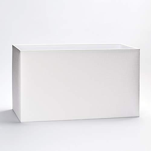 Stoff Lampenschirm E27 eckig Textilschirm Tischlampe Stehlampe rechteckig Schirm Stoffschirm rechteckig (weiß, 40x22x24cm)