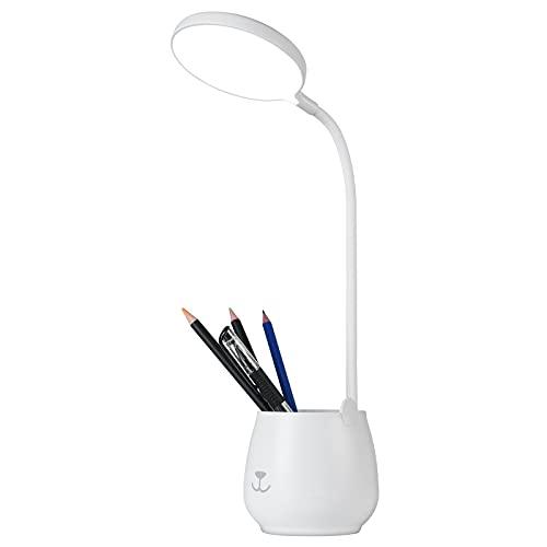 URAQT Lámpara Escritorio LED, Lámpara de Cuidado Ocular con 3 Modos Regulable, Flexo LED con USB Puerto, Lámpara de Lectura para Portalápices y Soporte
