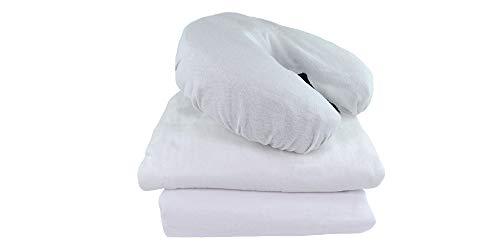 Body Best 3pcs Massage Table Sheets Set | Flannel | 100% Cotton 3 Piece Linens Spa Bed Treatment Table Covers | White