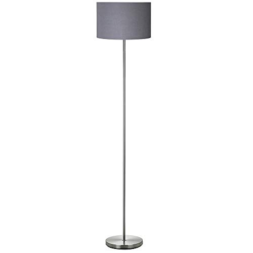 BAKAJI Lámpara de pie de luz bombilla E27 máx. 60 W base redonda de metal cromado pantalla de tela diseño moderno encendido con pedal altura 160 cm (gris) 60 W