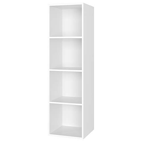 Homfa 4 Tier Bookcase Wooden Bookshelf White Cube Unit Storage Organizer 106cm
