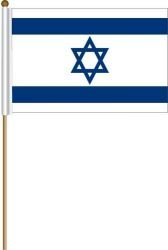 Israel Large 12 X 18 Inch Country Stick Flag Banner on a 2 Foot Wooden Stick .. Great Quality Polyester ... New