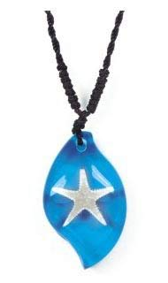 Real Surfers Sea Life Starfish Teardrop Necklace Charm Blue