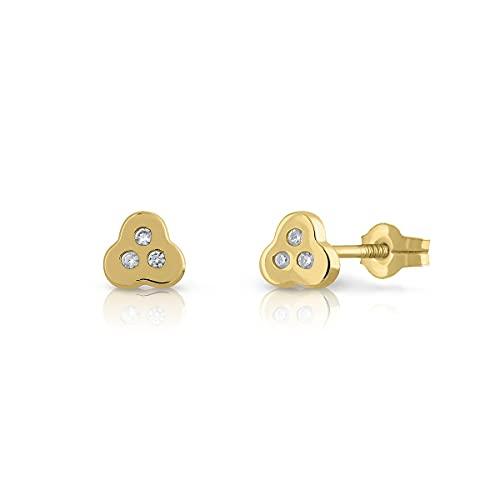 Pendientes Oro de Ley Certificado/Niña/Mujer. Trebol. Cierre de presión. Medida 5.5 mm. (1-4708)
