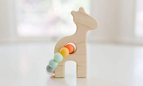 Giraffe Wooden Toy with Teething Beads