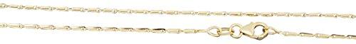 Hobra-Gold Massive 42/45/50/55 cm hochglänzende Goldkette 585 mit Karabiner - Kette Gold - Halskette (50)