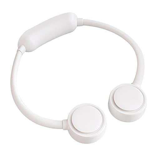 CGGA USB Recargable Ventilador eléctrico Personal Cuello Personal Cuello Cuello Manos Manos Manos Libre Verano Viaje Radiador Radiador Silencios (Color : White)