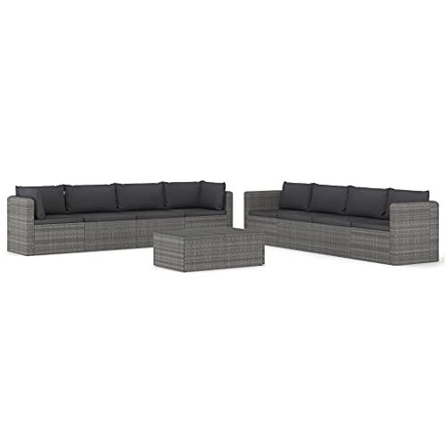 vidaXL - Set di mobili da giardino con cuscini, 9 pezzi, mobili da giardino, mobili da esterni, in resina intrecciata, colore: Grigio