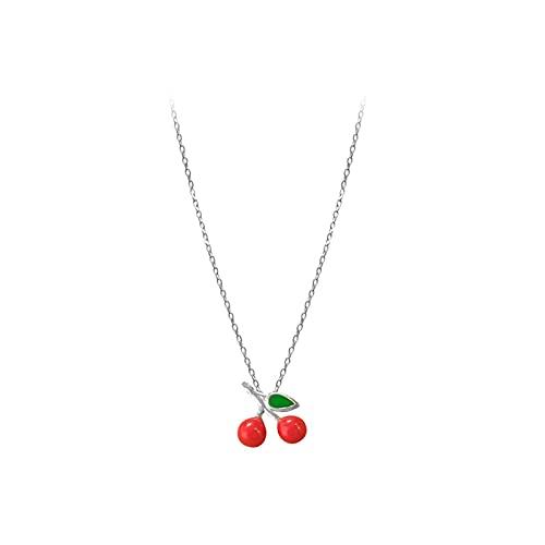 Collar de regalos de cumpleaños femenino con dulce cereza roja lindo pequeños accesorios de clavícula colgante
