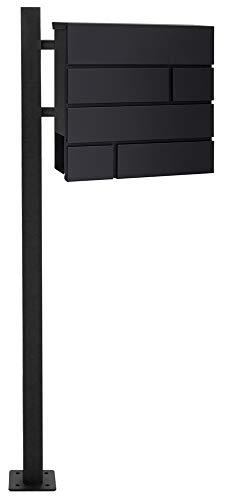 V2Aox staande brievenbus brievenbus zwart staal krantenrol vrijstaand, selectie: 1 voet - hoekig. MB01