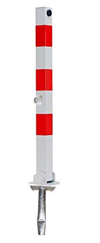 ABSPERRPFOSTEN 70x70mm Vierkantrohr, Umlegbar mit Dreikantverschluß, zum Einbetonieren, 2 Ösen, Poller, Parkplatzsperre