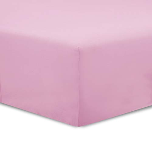 VISION Drap Housse Rose - 90 x 190 cm - 100% Coton