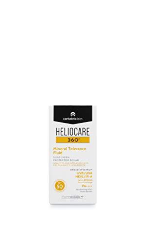 Heliocare 360º Mineral Tolerance Fluid SPF 50 - Crema Solar Facial, Fotoprotector Avanzado, Textura Ligera, Sin Efecto Blanqueante, Filtros 100% Minerales, 50ml