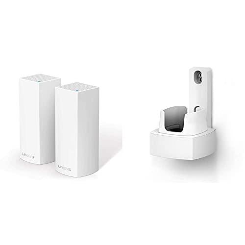 Oferta de Linksys WHA0301 - Accesorios para punto de acceso WLAN, Blanco + Linksys Velop AC4400 - Sistema WiFi Intelligent Mesh para todo el hogar, doble banda, hasta 4.4 Gbps, paquete de 1 nodo hasta 250 m²