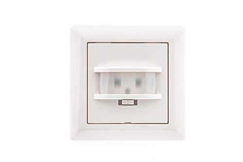 HUBER MOTION 14, PIR Bewegungsmelder 170°, weiß, unterputz für Innenraum- und Wandmontage, hochsensibel durch 2 Sensoren, auch für andere Schalterserien mit Rahmenausschnitt 55 x 55 mm