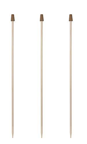 Windhager Rosenkugelstab Set, Holzstab für Gartenkugeln, Holz-Stab für Glaskugeln, mit Korkaufsatz, für Rosenkugeln mit 12-16 cm, 3 Stück, 89143, Natur, 150 cm