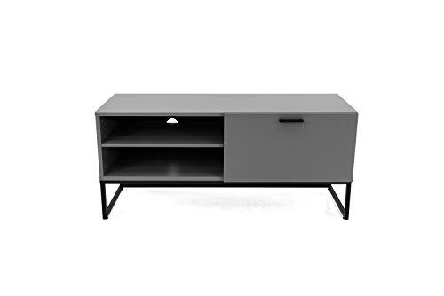 TENZO 2 offenen Fächern und 1 Klappe Bank Mello, lowboard, Board, Tv-möbel, grau lackeirt, Skandinavisches Design, Spanplatte Stahl lackiert, Weiß, H53,5 x B118 x T43 cm