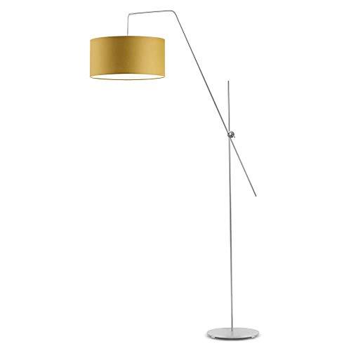 Bilbao - Lámpara de pie, pantalla de lámpara, color amarillo mostaza, marco plateado