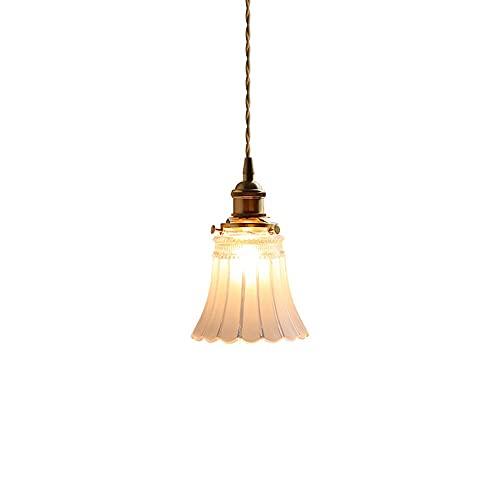 Xungzl Lámpara de cristal de vidrio con soplado a mano japonés iluminación colgante, lámpara de metal retro Mini lámpara de araña, Estilo industrial estadounidense Alambre colgante Lámpara colgante aj