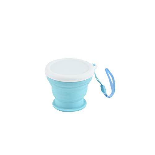 JTKJ Taza de agua plegable portátil silicona deportes al aire libre gran capacidad taza de agua compresible plegable taza de café portátil viaje de negocios azul trompeta 100ml