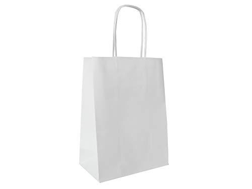 Carte Dozio - Shopper in Kraft Bianco, maniglia ritorta, f.to 15+8x20, cf 25 pz
